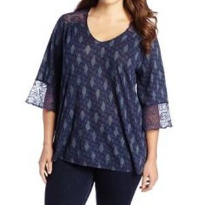 Lucky Brand Caley Print Blouse Lace Bell Sleeves